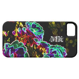 Verde púrpura negro de neón de los rosas psicodéli iPhone 5 protectores