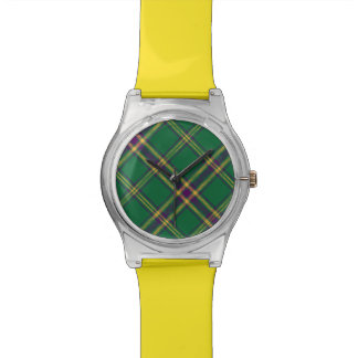 Verde/púrpura/reloj de la luz de la tela escocesa  reloj