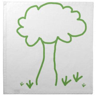 Verde que va de los árboles del ahorro servilletas de papel