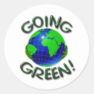 Verde que va pegatina redonda