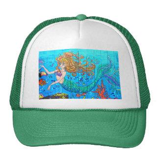 verde redheaded de la sirena gorros bordados