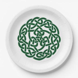 Verde redondo del nudo 2 célticos plato de papel 22,86 cm