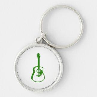 verde resumido del gráfico de la guitarra llavero redondo plateado