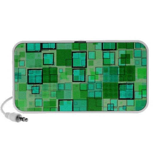 Verde retro con el extracto de la casilla negra PC altavoces