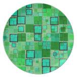 Verde retro con el extracto de la casilla negra platos de comidas