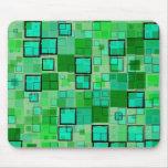 Verde retro con el extracto de la casilla negra tapete de raton