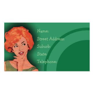 Verde retro Cutesy de la tarjeta de la peluquería Tarjetas De Visita