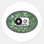 Verde retro de la cinta de casete pegatina redonda