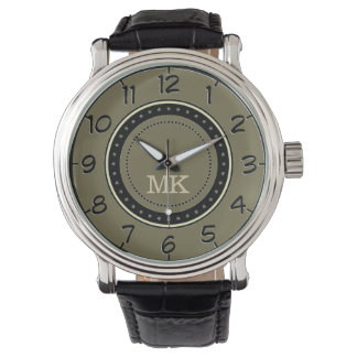 Verde retro de Loden del estilo. Hombres del Relojes De Mano