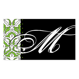 Verde retro del damasco de la tarjeta de visita de