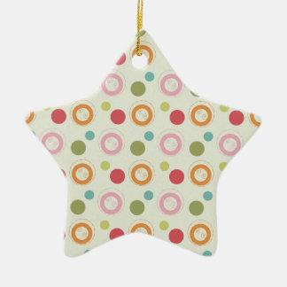 Verde retro del trullo, rojo, rosa, lunares adorno de cerámica en forma de estrella