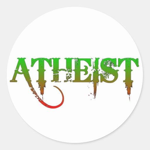 Verde/rojo ateos del estilo del gótico de la pegatinas redondas