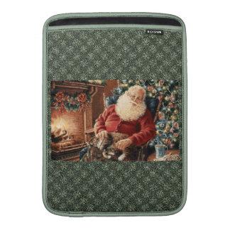 Verde rojo de Belces de navidad de Papá Noel Funda Para Macbook Air
