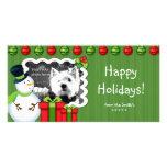 Verde rojo de la plantilla de la tarjeta de la fot tarjetas con fotos personalizadas