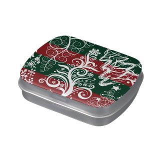 Verde rojo del árbol de navidad festivo del día de