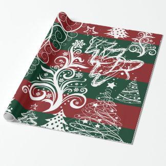 Verde rojo del árbol de navidad festivo del día de papel de regalo