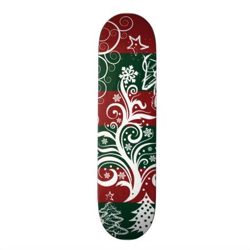 Verde rojo del árbol de navidad festivo del día de tablas de patinar