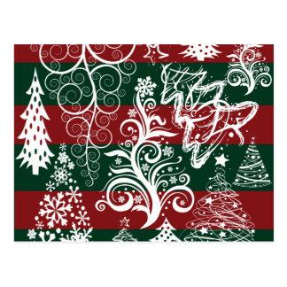 Verde rojo del árbol de navidad festivo del día de tarjeta postal