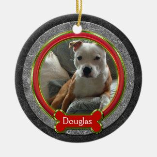 Verde rojo del cuero de la foto del mascota del adorno navideño redondo de cerámica