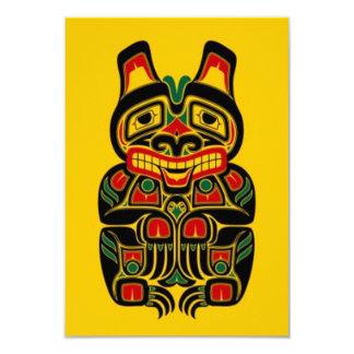 verde rojo del oso del alcohol en yellow.jpg invitación 8,9 x 12,7 cm