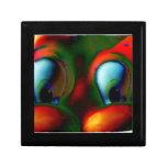 Verde rojo loco de Solarized de los ojos felices Caja De Recuerdo