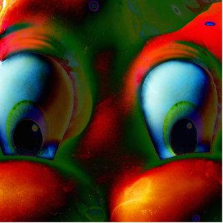 Verde rojo loco de Solarized de los ojos felices Escultura Fotográfica