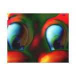 Verde rojo loco de Solarized de los ojos felices Lona Envuelta Para Galerias