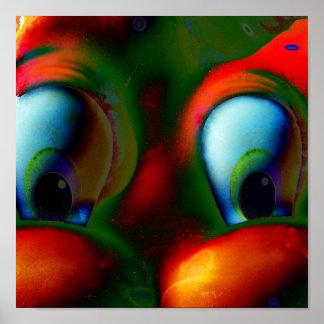Verde rojo loco de Solarized de los ojos felices Poster