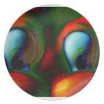Verde rojo loco de Solarized de los ojos felices Plato De Comida
