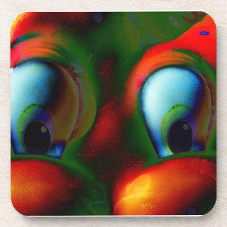 Verde rojo loco de Solarized de los ojos felices Posavasos De Bebida