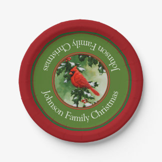 Verde rojo masculino del cardenal y del acebo plato de papel de 7 pulgadas
