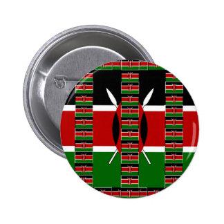 Verde rojo negro de Kenia Pin Redondo 5 Cm