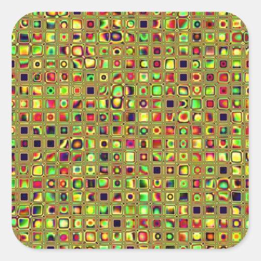 Verde, rojo y modelo texturizado mosaico de las pegatina cuadrada