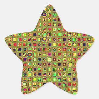 Verde rojo y modelo texturizado mosaico de las te calcomanías forma de estrellas personalizadas