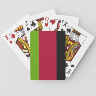 Verde, rojo y rayas negras barajas de cartas