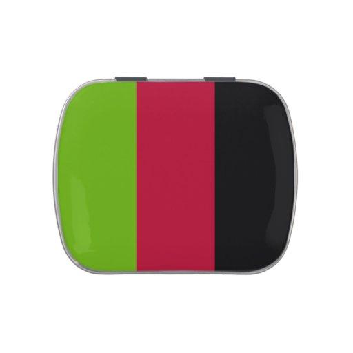Verde, rojo y rayas negras latas de dulces