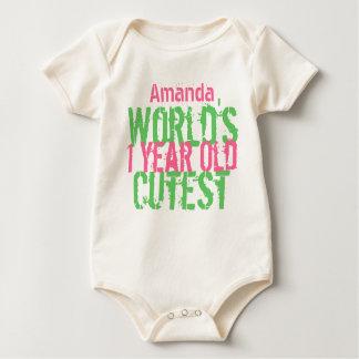 Verde rosado año más lindo del mundo del mameluco de bebé
