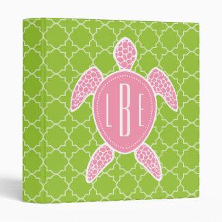 """Verde rosado con monograma Quatrefoil de la Carpeta 1"""""""