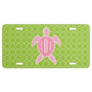 Verde rosado con monograma Quatrefoil de la Placa De Matrícula