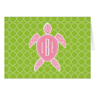 Verde rosado con monograma Quatrefoil de la Tarjeta Pequeña