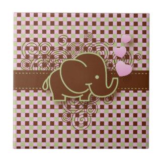 Verde rosado del diseño el | Brown del elefante Azulejo Cuadrado Pequeño