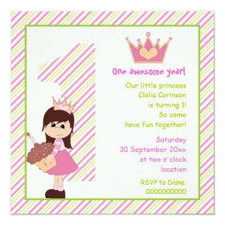Verde rosado del pequeño de la princesa cumpleaños comunicado personalizado