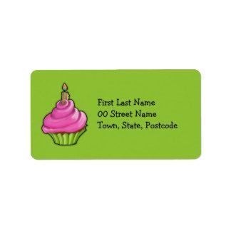 Verde rosado y verde de la magdalena etiqueta de dirección
