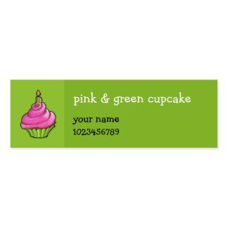 Verde rosado y verde de la magdalena pequeño tarjetas de visita mini
