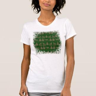 Verde rústico salvaje del moreno de los árboles de remeras