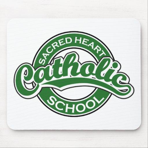 Verde sagrado de la escuela católica del corazón mouse pads