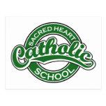 Verde sagrado de la escuela católica del corazón tarjetas postales