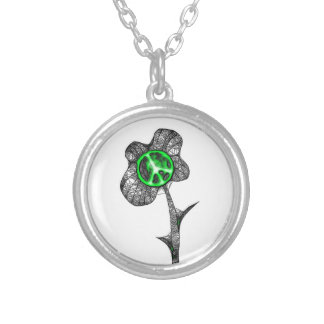 Verde salvaje de la flor de la paz colgante redondo