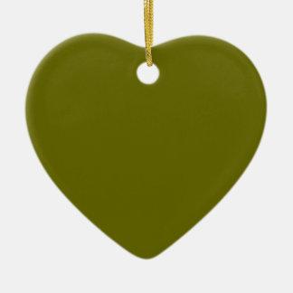 Verde salvia adorno de cerámica en forma de corazón