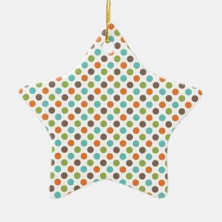 Verde salvia, naranja, trullo, y lunares de Brown Adorno De Cerámica En Forma De Estrella